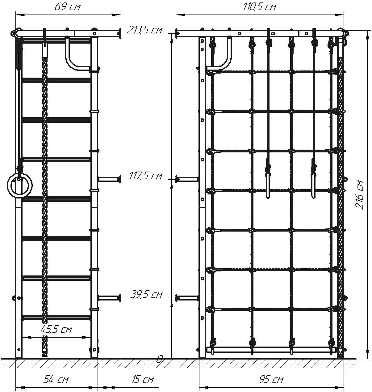 ДСК Рукоход-Угловой схема